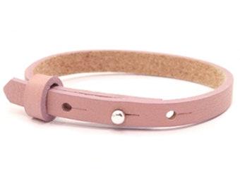 Leather strap vintage pink | Bracelet for sliding beads 8 mm |
