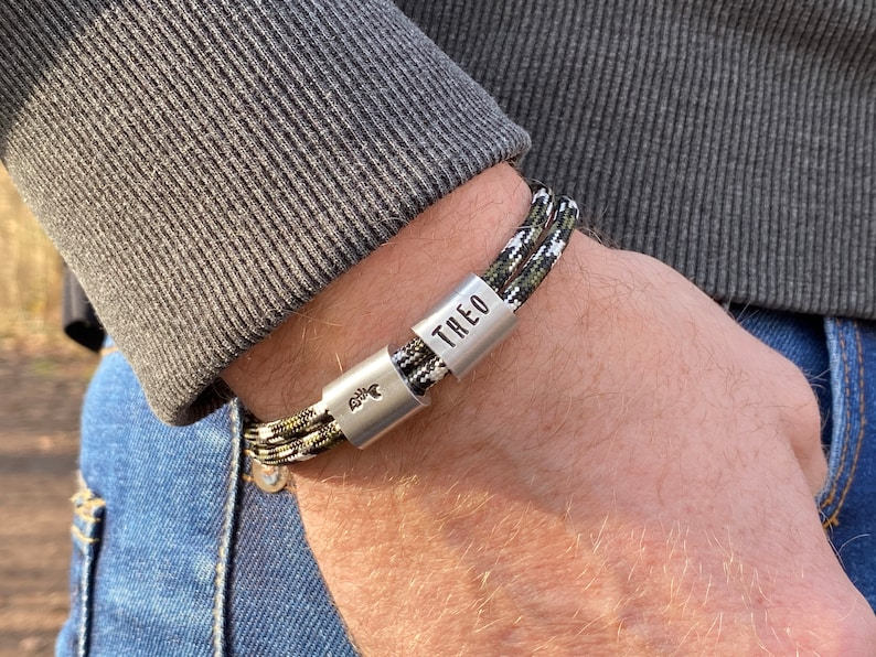 Men's bracelet personalized with name handstamped  Gift image 0