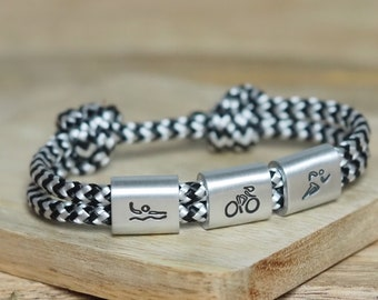 Men's triathlon bracelet personalized hand-stamped | Running | Cycling | Swimming | Long distance