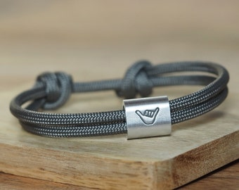 Men's bracelet in saildew hand-stamped | Hang Loose | Shaka