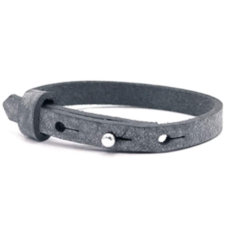 Leather bracelet graphite antique black  Bracelet for sliding image 0