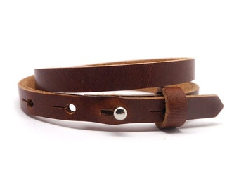 Leather bracelet smal 2 compartment dark cognac brown | Sliding Beads | Women's Leather Bracelet | double-wrapped leather strap