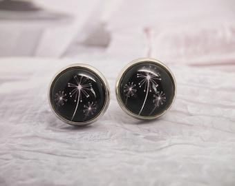 Earrings Flower | Earrings Dandelion | Silver Earrings | 12 mm Glass Cabochon