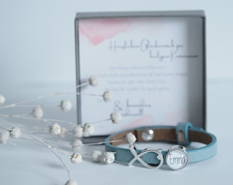 Personalized leather strap with personal gift box | Confirmation | Communion | Baptism | Confirmation | Birthday | Schooling