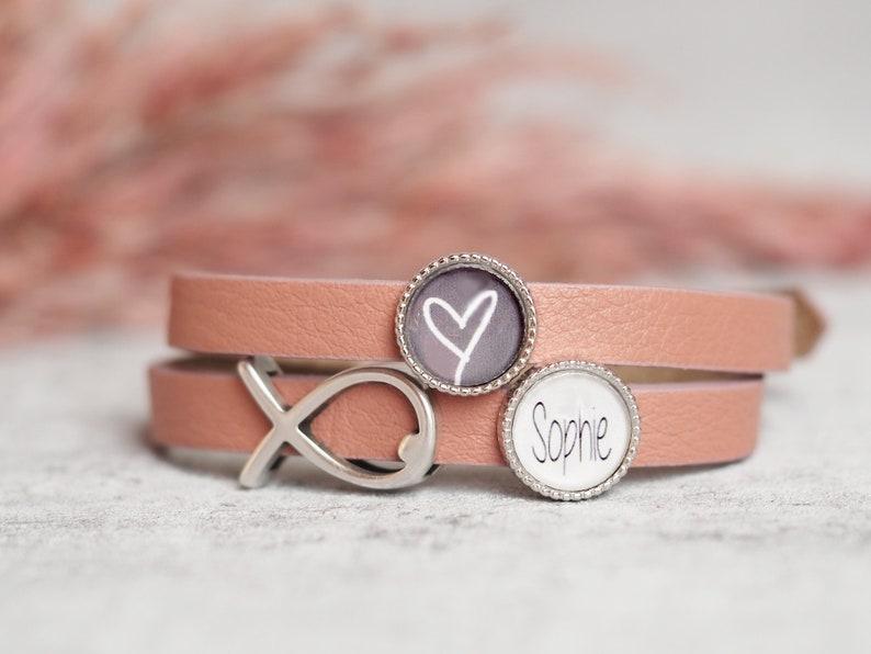 Personalized Leather Bracelet  Confirmation  Communion  image 0