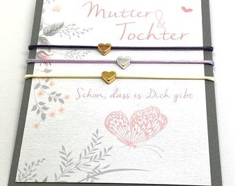 Mother & Daughter Bracelet Set of 3   Hearts   Friendship bracelet   Love   Mother Daughter