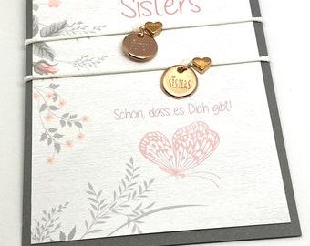 Love Sisters Bracelet Set   Sisters   Friendship Bracelet   Sister Heart   Siblings   Gift for Sister
