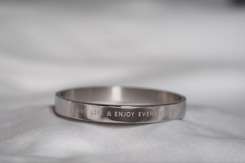 Silver bangle Love life & enjoy the moment  image 0