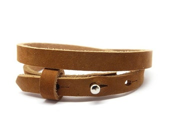 Leather bracelet smal 2 compartment cognac brown | Sliding Beads | Women's Leather Bracelet | double-wrapped leather strap cognac