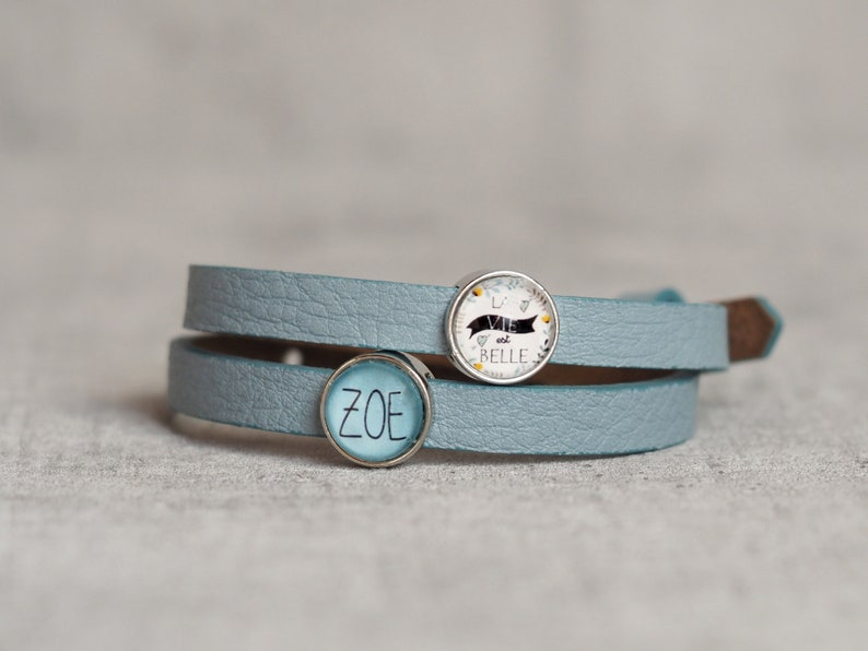 Leather bracelet with desired name  Names Children  Lucky image 0