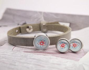 "Children's jewellery set ""Flowers"" | Children's leather bracelet with sliding bead and desired motif | 10 mm stud earrings"