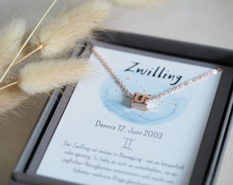 Zodiac sign necklace in a gift box with personalized card, silver, rose gold, gold, gift, Christmas, birthday