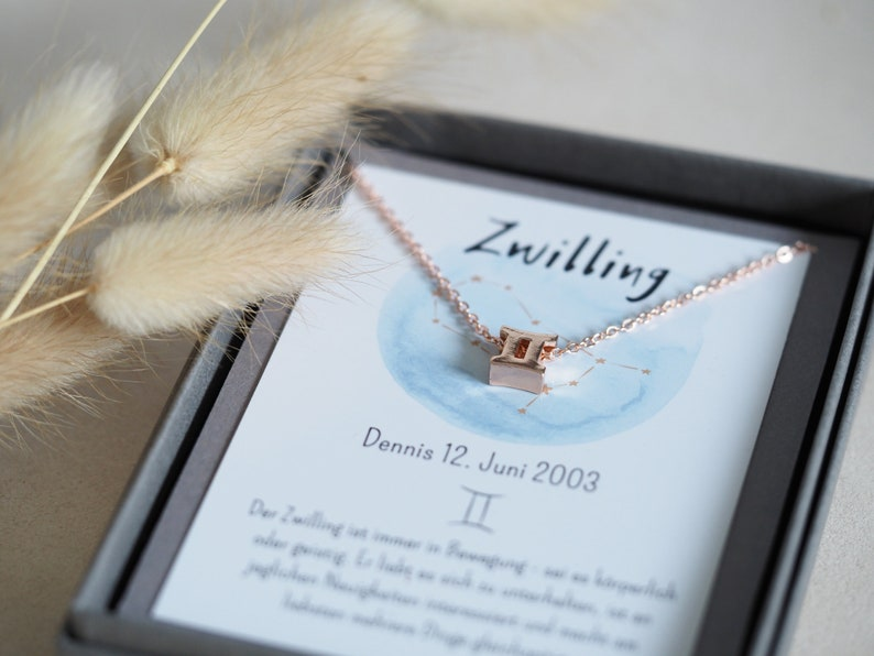 simple zodiac sign chain Gemini in a gift box with image 1
