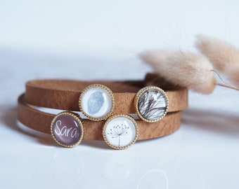 Personalized leather bracelet with desired name   Photo pearl   Desired photo   Lock of hair   fingerprint