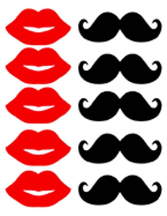 photo regarding Mustache Printable identified as Image booth props Mustache and Purple Lips- Printable Obtain