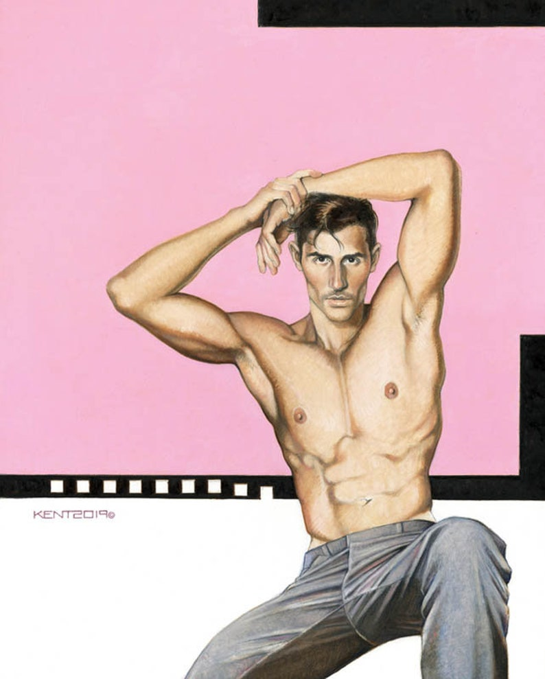 FILMSTAR, male, man, men, nude, shirtless, adult, adults, portrait, figure,  erotic, gay, male nude, sexy, painting