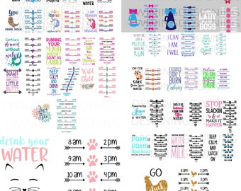 Ultimate Water tracker bundle fox SVG, PNG, DXF digital file water tracker svg cheer svg water tracker file