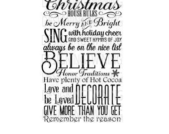 Christmas House Rules digital file SVG PDF PNG dxf