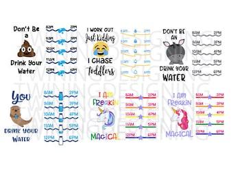 Water Tracker Bundle 4 | SVG | PNG | DXF | zip files | digital file |Unicorn svg | Drink your water svg | Cute Otter svg
