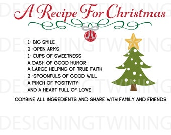 Recipe for Christmas SVG, PNG, PDF, dxf digital file