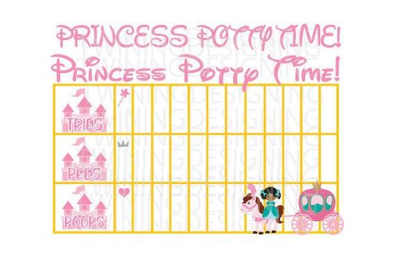 Princess potty chart digital file svg png dxf princess etsy