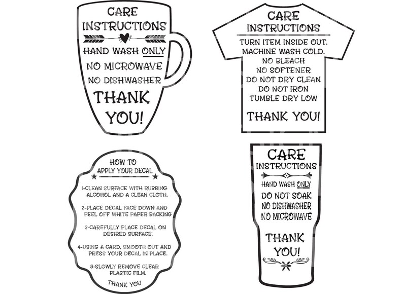 Care Instructions Digital File  T shirt Care Instructions  image 0