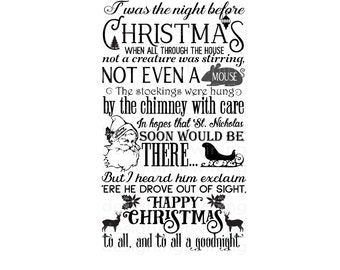 vintage Twas the night before christmas holiday story SVG PNG dxf and pdf digital file