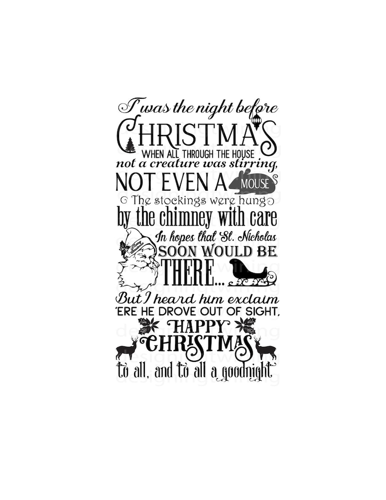 graphic regarding Twas the Night Before Christmas Poem Printable known as basic Twas the evening in advance of xmas family vacation tale SVG PNG dxf and pdf electronic history