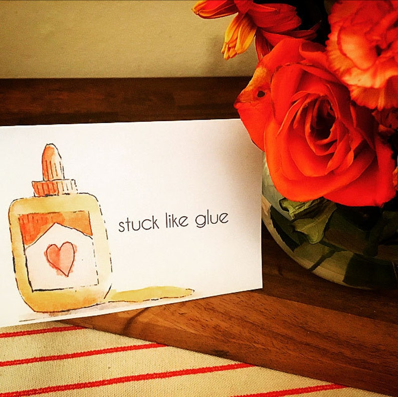 Instant Download Stuck Like Glue Love Watercolor Printable Cards