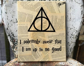 Harry Potter Wall Art - J. K. Rowling - I solemnly swear that I am up to no good - Your choice of quote - Book page Wall hanging