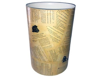 Harry Potter Wastebasket - Trash Can - Book Pages - Larger Size