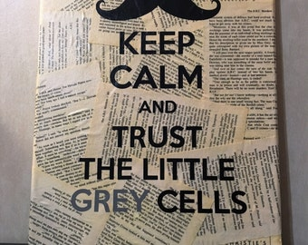 Poirot Keep Calm Wall Art - Agatha Christie - The A.B.C. Murders - Your choice of quote - Book page wall hanging - Free Shipping in Us