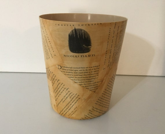 Trash Cans And Wastebaskets Stunning Harry Potter Wastebasket Trash Can Book Pages Free US Etsy