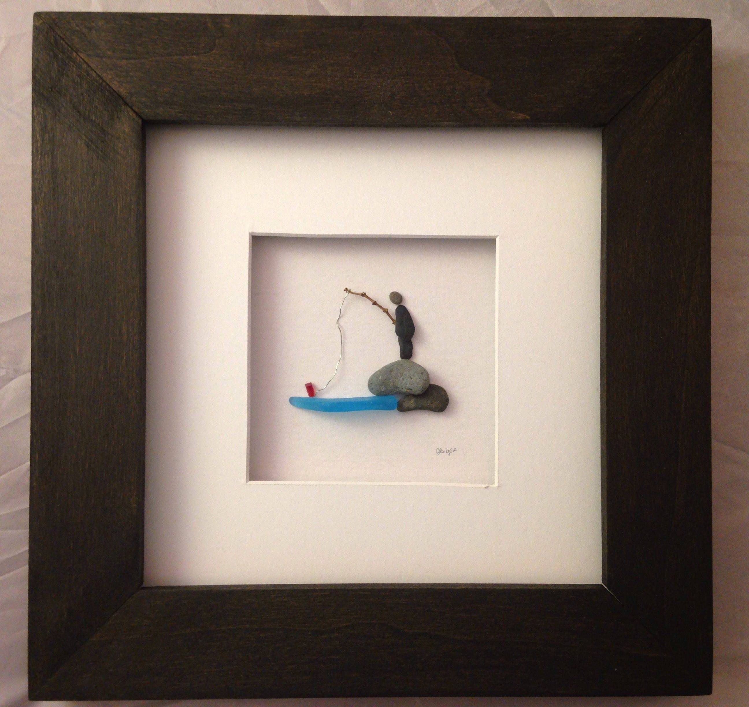 Pebble Art, Sea Glass Art U0027Iu0027d Rather Be Fishingu0027, 8x8 Framed Fishing Wall  Art, Office Decor, Man Cave Decor, Gift For Dad, Fathers Day Gift
