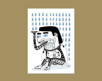 Postcard Man in the rain