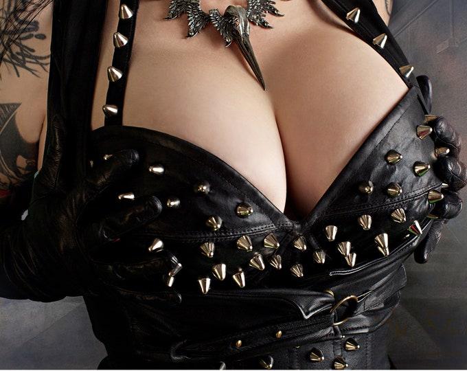 Dominatrix, BDSM Art, Studded Leather Bra, Kinky Art, Fetish Art, Fetish Photo, Dom Sub, Mistress, Dominatrix Gift, Domina, BDSM Dom, Mature