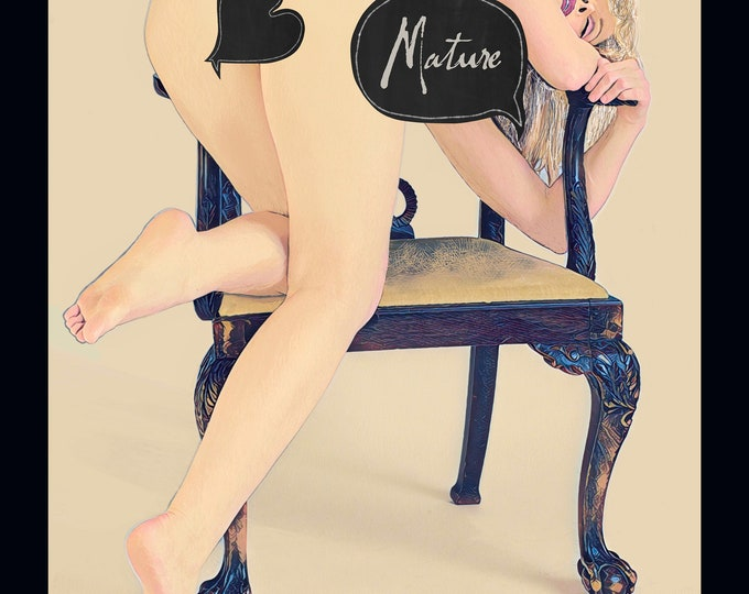 Erotic Art, Kinky Art, Nude Woman, Mature, Model Posing, Fine Art Erotica, Erotica, Erotic Drawing, Woman and Chair, Nude, VaginalArt, Kink
