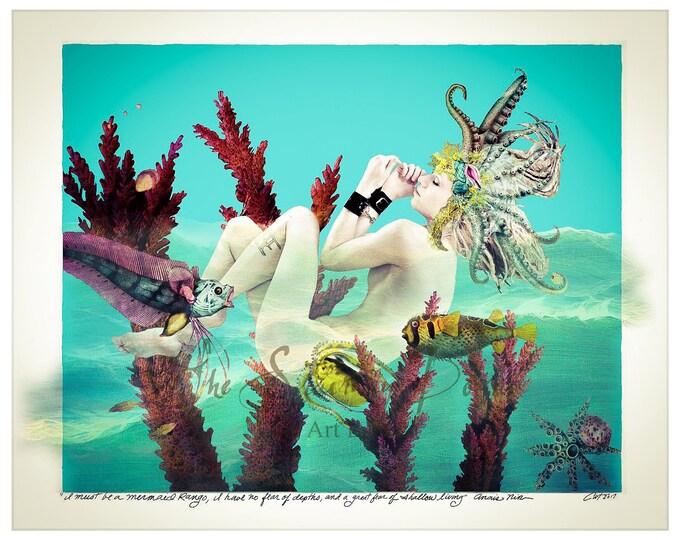 Mermaid Art, Mermaid Photo, Mermaid Drawing, Anais Nin, Fetish Art, Mature, Nude Woman, Bongage, Leather Cuffs, Kinky Art, BDSM Art, Kink