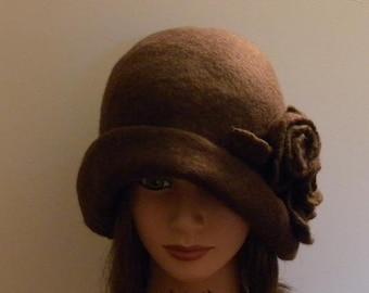 "Handmade hat wet felted hat brown hat boho hat felted cloche 1920 hat felt cloche hat unique hat trend women""s hat art deco"