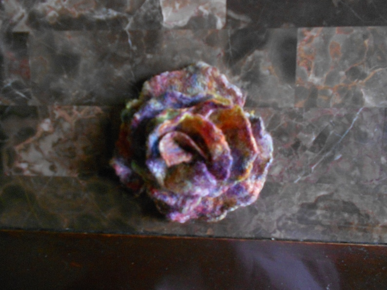 Handmade wet felted  rainbow  flower vegan merin wool rose sweather pin save pin hair pin for shawl gift for her Gift for Mother