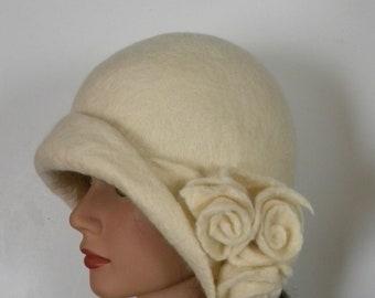Handmade hat vanilla hat boho hat felted cloche felt cloche hat unique hat trend woman hat hats women hat with flower accept orders art deco