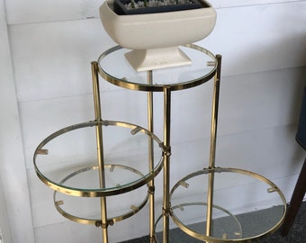 Vintage Gold & Glass 6 Tier Plant Stand