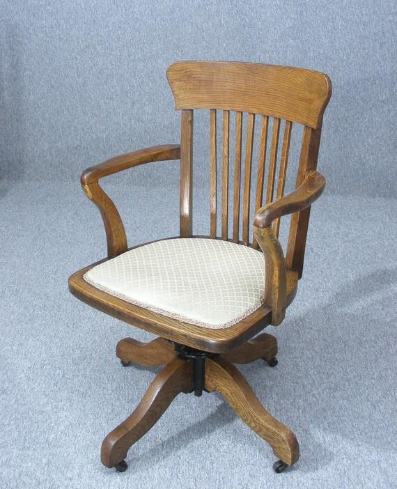 Antique Victorian Oak Desk Chair Swivel Desk Chair Office Etsy