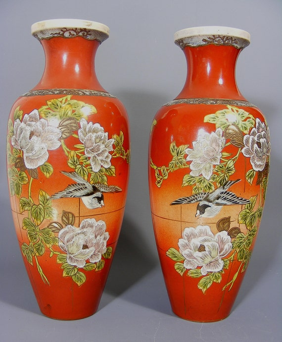 Pair Of Large Japanese Satsuma Vases Pair Of Vases Antique Etsy
