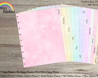 Watercolour Dividers with tab stickers (NOT foiled) - for use with Happy Planner (TM) or Rainbow Planner