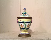 Sevres Type Inkwell, French Porcelain and Bronze, Artist Signed, Ca 1920s.