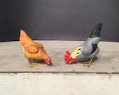 Antique Putz Chickens, Handmade Paper-Mache with Lead Feet, Pair.
