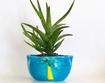 Cactus Plant Pot, Tropical Pottery, Palm Tree Pottery, Palm Tree Decor, Ceramic Planter, Boho Planter Pot, Cute Palm Tree, Small Planter