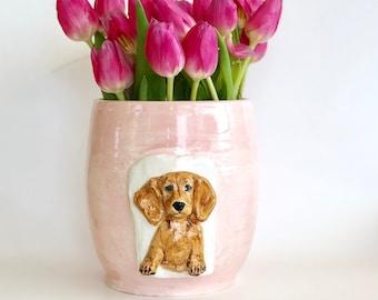 Flower Pot, Pink Flower Pot, Dachshund Planter, Pink Flower Vase, Cute Dog Planter, Pink Vase, Pink Plant Pot, Mothers Day, Dachshund Mom