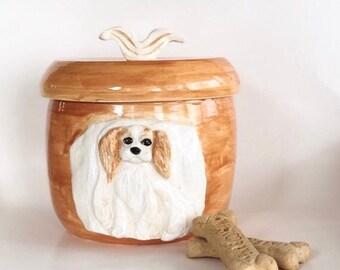 Cavalier Cookie Jar, King Charles Treat Jar, Spaniel Cookie Jar, Ceramic Spaniel Treat Jar, Dog Cookie Jar, King Charles Gift, Spaniel Jar